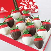 White and Semi-Sweet Chocolate Dipped Strawberries Box