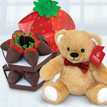 Chocolate Dipped Sig Berry Box + Free Bear