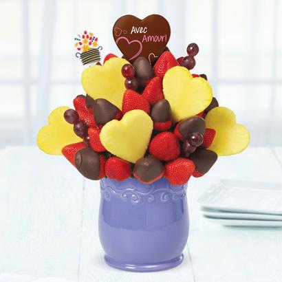 Cœurs en Floraison des fraises enrobées de chocolat & Sucette au Chocolat Belge