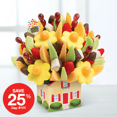 Realtor Special: Delicious Fruit Design® Dipped Strawberries & Bananas in Happy House Keepsake