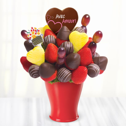 Bouquet dAmour avec des fraises enrobées de chocolat
