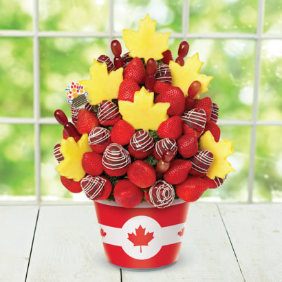 Berry Canadian Bouquet w/ Canadian Flag Insert