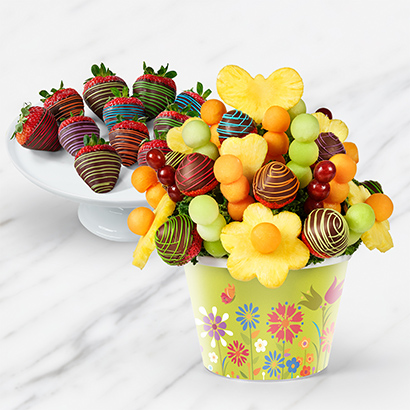 Rainbow and Butterflies with Dipped Fruit Box