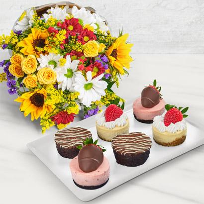 Cheesecake, Brownie & Flower Bouquet