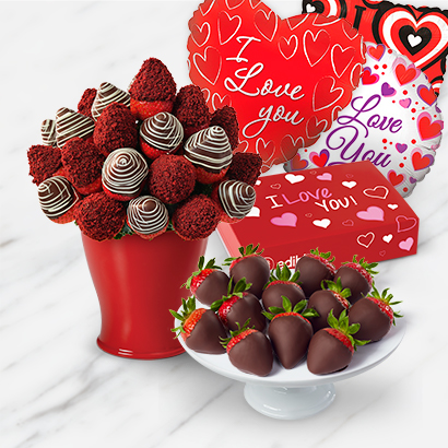 Red Velvet Berry Bouquet and Box Deluxe Bundle