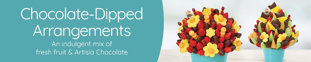 Fresh Fruit Arrangements with Gourmet Chocolate Covered Fruit
