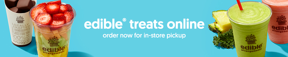 You can now order select fresh fruit treats online and pick up in your local Edible? store!